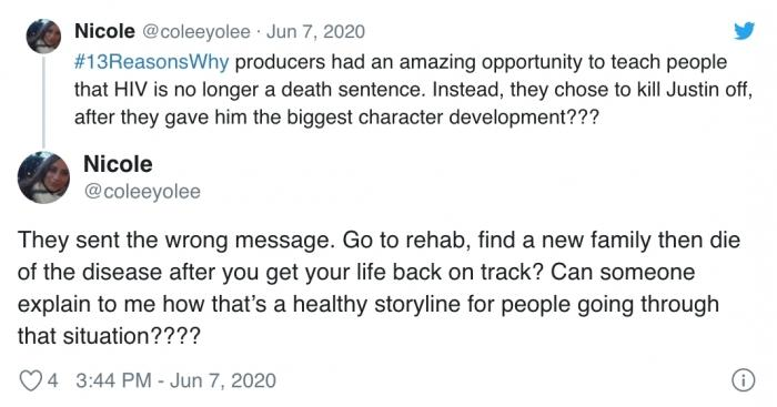 """The producers of 13 Reasons Why had an incredible opportunity to make people realize that HIV is no longer synonymous with"" the death penalty "". Instead, did they choose to kill Justin after giving him the best possible development?"""