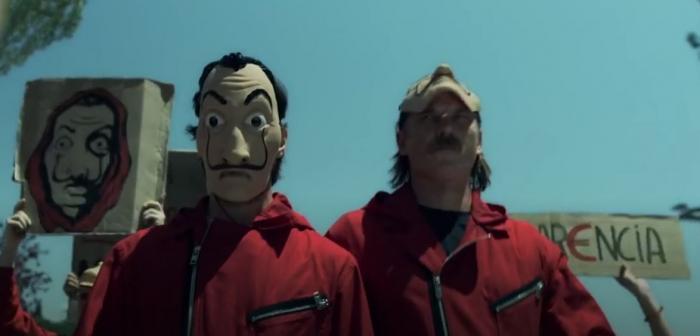 The Professor and Marseille in La Casa de Papel part 4 on Netflix