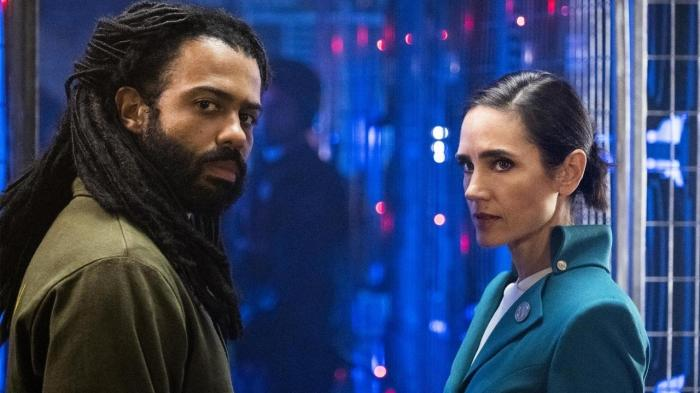 Andre Layton and Melanie Cavill in Snowpiercer