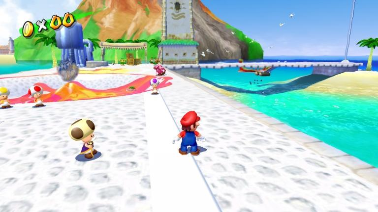 Super Mario Sunshine remains relatively beautiful and takes advantage of the 16: 9 aspect ratio