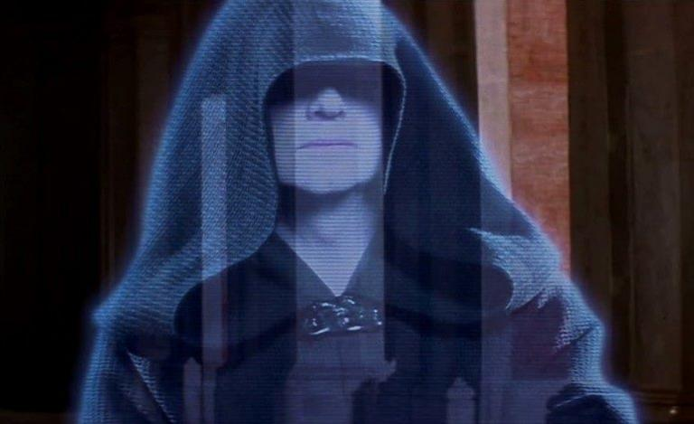 Hologram of Palpatine from the Star Wars saga.