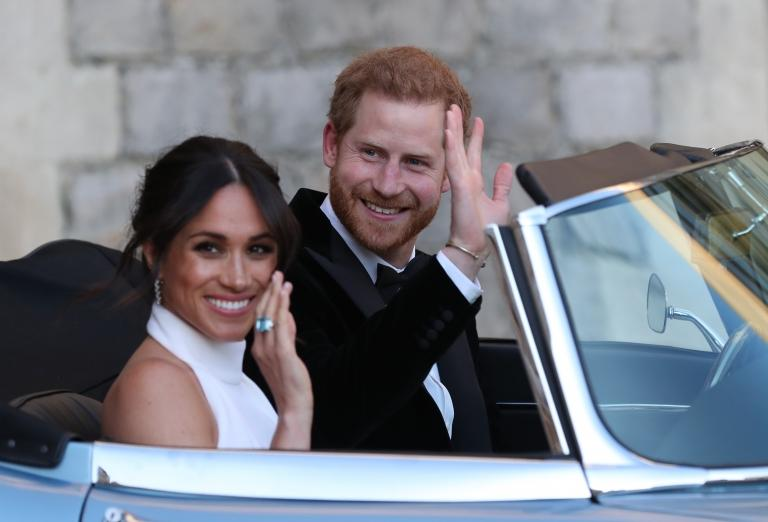 Prince Harry and Meghan Markle a few hours after their wedding