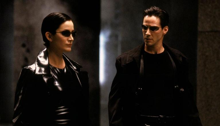 Trinity and Neo in The Matrix.