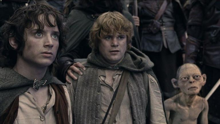 Frodo Baggins, Sam Gamegie and Gollum in The Lord of the Rings saga.