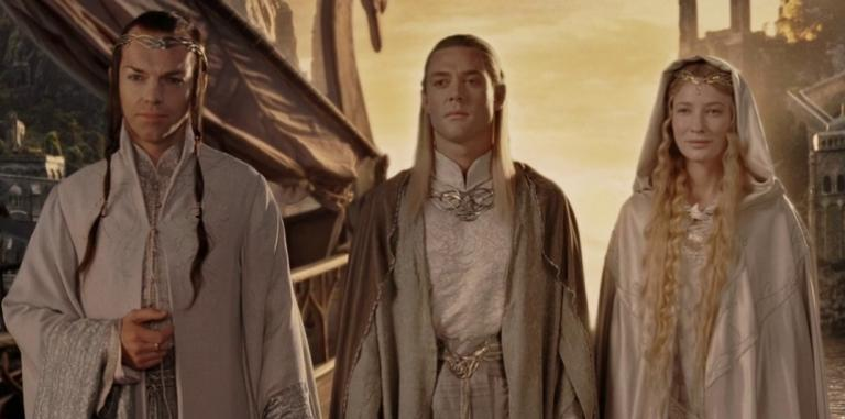 Elrond, Celeborn and Galadriel at the end of Lord of the Rings: The Return of the King.