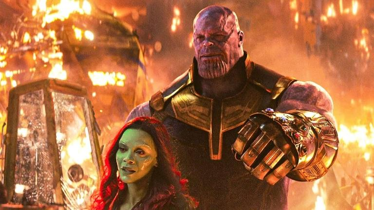 Gamora and Thanos in Avengers: Infinity War