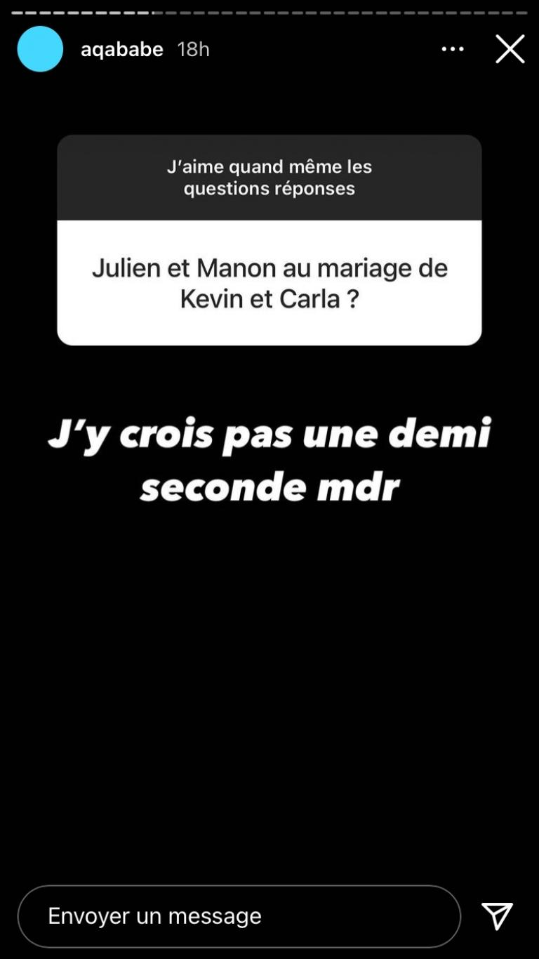 Julien Tanti and Manon Marsault would both be absent from the marriage of Kévin Guedj and Carla Moreau