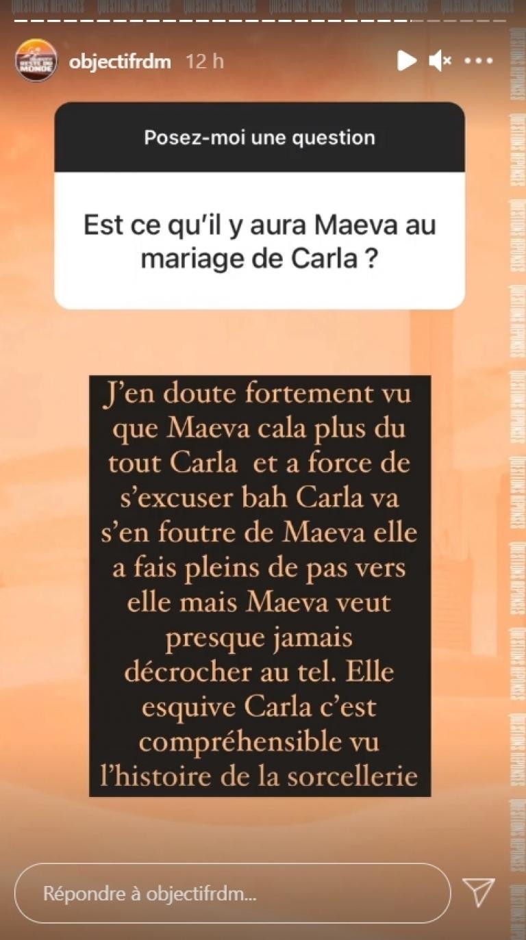 Maeva Ghennam will not be invited to Carla Moreau's wedding