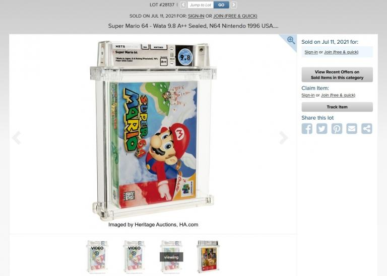 The auction of this copy of Super Mario 64 has been a staggering success