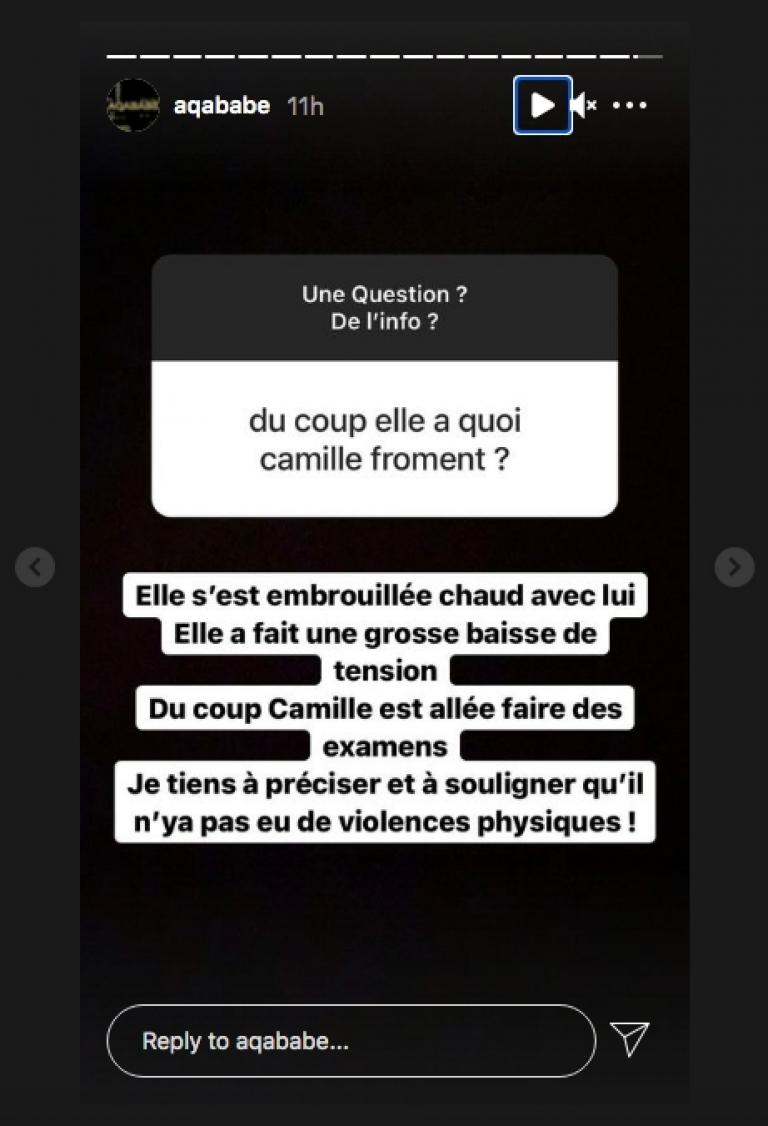 Aqababe announces the hospitalization of Camille Froment
