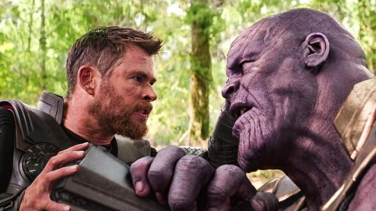 Thor vs. Thanos in Avengers Infinity War