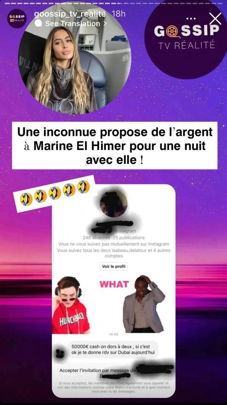 Dredged on Instagram, Marine El Himer received an indecent proposal
